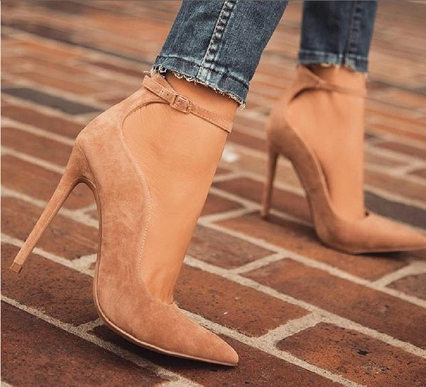 Women Shoes Stiletto High Heels Office Pumps Ladies Sexy Pointed Toe Buckle Strap Party Wedding Shoes Big Size 42 Zapatos Mujer