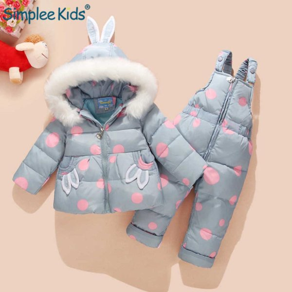 Russian Winter Suit for Children Baby Girl Duck Down Jacket and Pants 2pcs Warm Clothing Set Thermal Kids Clothes Snow Wear