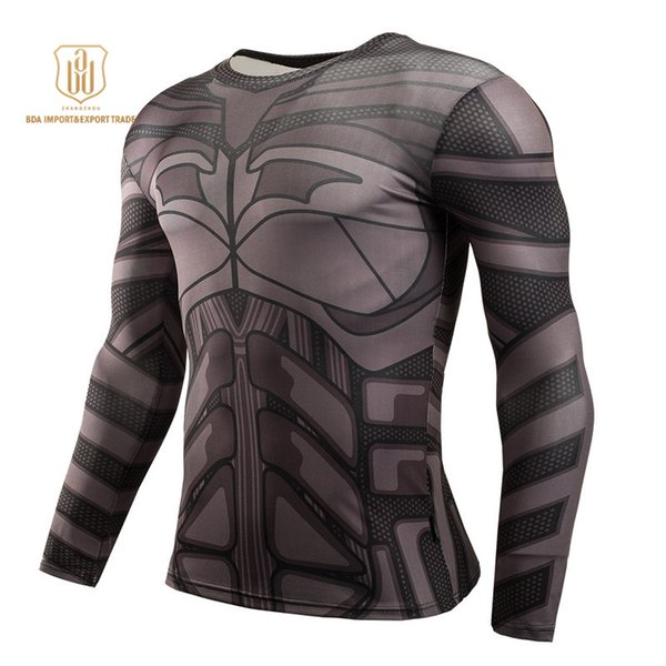 Outdoor Sportswear High Elastic New Batman Round Collar Quick Dry Breathable Clothes Men Sports Fitness Gym Activewear T-shirts