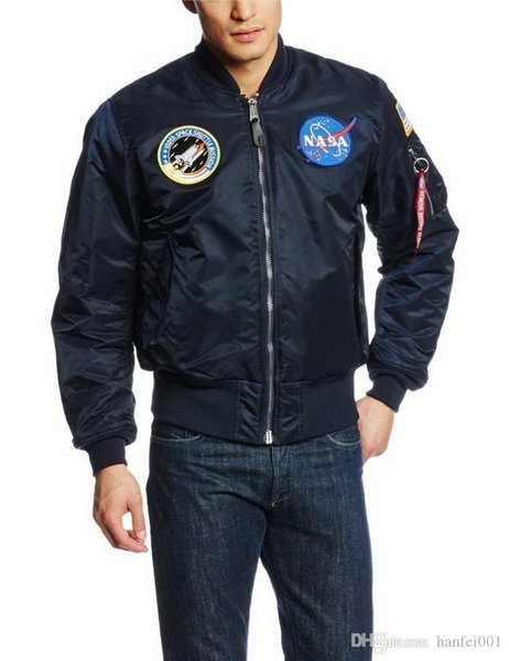 Thick Nasa Ma1 Bomber Jacket Flight Windbreaker Usa Air Force Embroidery Pilot Jacket Kanye West Hip Hop Jacket Bomber Coat S-2xl Hfjk001