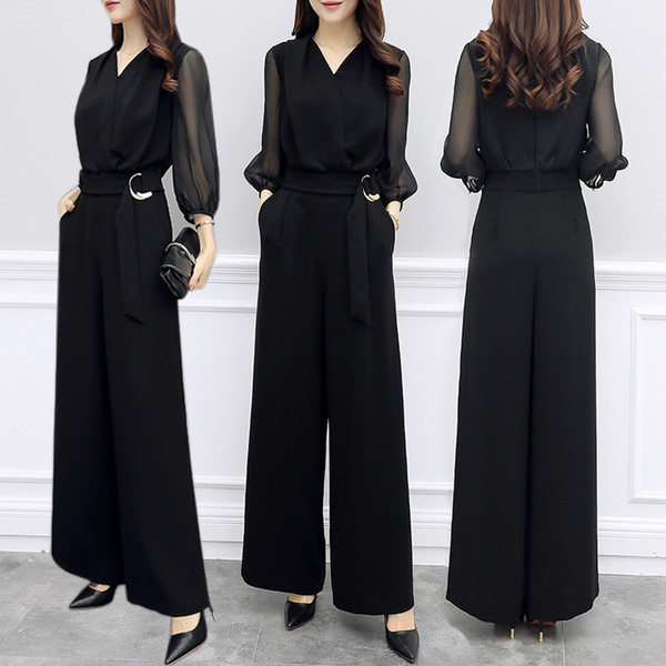 2018 Summer Women V-neck Chiffon Jumpsuits Elegant Ladies Black Party Wide Leg Jumpsuits Y19060501