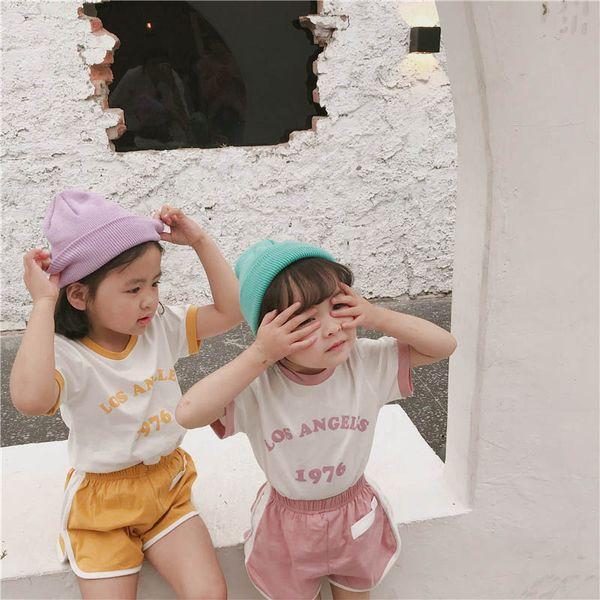 2019 nuova tuta per bambini Moda casual Set da bambino Summer Girls Outfit T-Shirt + pantaloncini Abito per bambini Abiti firmati per bambini Abiti per ragazze A4895