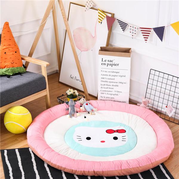 2020Round Kitten Pattern Baby Pad Pink Thicken Cotton Crawl Protect Pad Children ' ;S Playroom Cushion Diameter 1 .5m