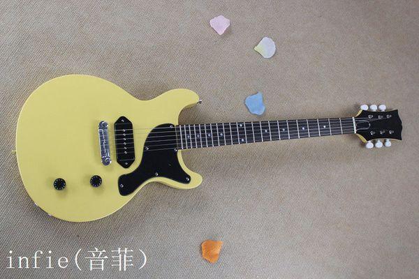Commercio all'ingrosso - 2019 chitarra elettrica di colore giallo solido solido con hardware in oro modello G-lp chitarra OEM + Spedizione gratuita!