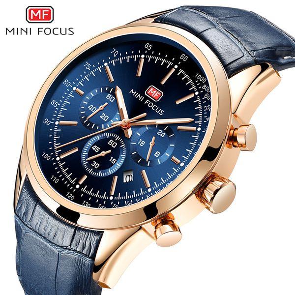 MINI FOCUS 2019 Nouveaux Hommes Cuir Sport Quartz Montres 3Bar Chronographe Armée Étanche Montre Relogios Masculino Horloge M0116G.04