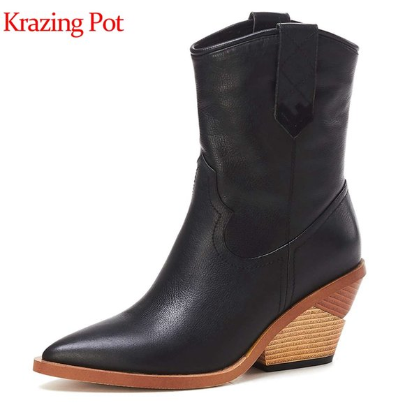 krazing pot cow leather pointed toe strange high heel hollywood slip on sewing european design punk rock style boots l60
