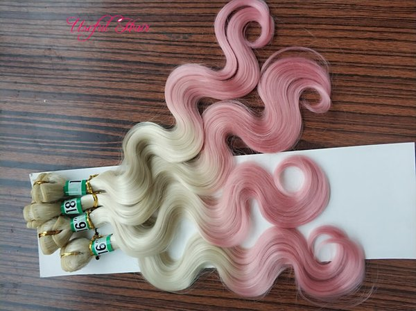 ombre pink blonde sew in hair extensions
