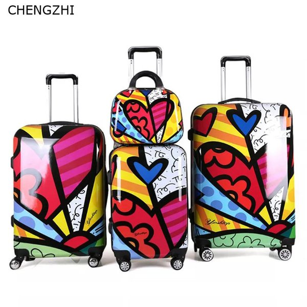 CHENGZHI 202428 Inch Love Pattern Luggage Set Women Hard Side Travel  Suitcase Trolley Bag With Wheels Childs Suitcase Dakine Suitcase From  Leegarden,