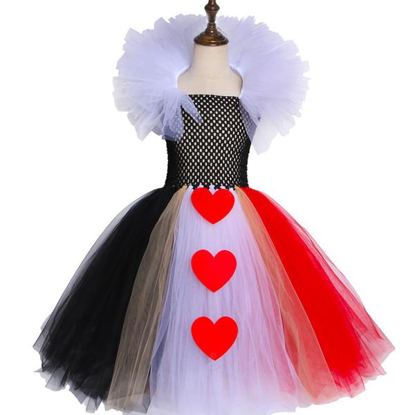 Compre Vestido De Tutú Negro Rojo De La Reina De Corazones Alicia En El País De Las Maravillas Cosplay De Halloween Para Niñas Vestido De Fiesta De