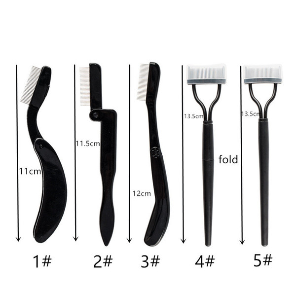 top popular Free shipping !Foldable stainless steel needle eyebrow comb tool eyelash curving plastic handle eyebrow comb professional cosmetic tool 2021