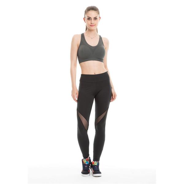 Women Leggings Gym Sports Running Fitness Pants Stretch Trouser Yoga Tight Women's Mesh Contrast Sports Yoga Pants Autumn #271034
