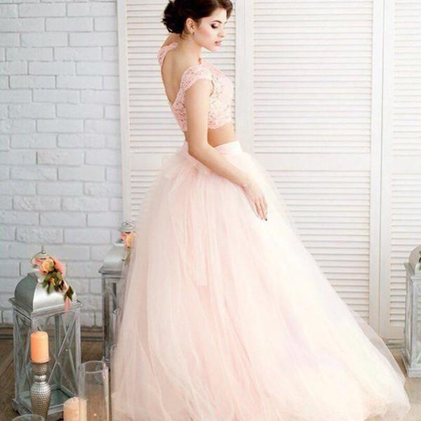 2 Peça Rosa Claro Vestido De Noiva Praia 2019 Vintage Lace Cap Top Simples Boho Vestidos De Noiva Robe Mariage Vestidos De Casamento