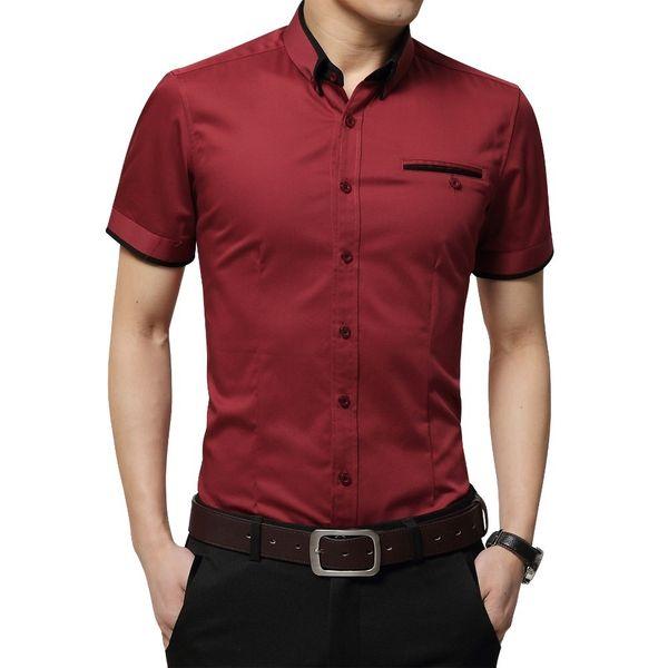 New Arrival Brand Men's Summer Business Short Sleeves Turn-down Collar Tuxedo Shirt Men Shirts Big Size 5xl Q190518