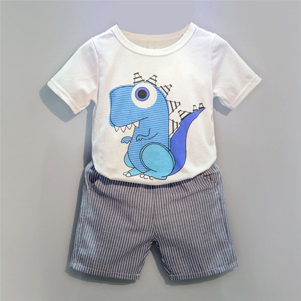 Summer Boys Clothes Toddler Kid Baby Boys Cartoon Printing T-shirt+Short Pants Clothes Outfits Set NDA84L18