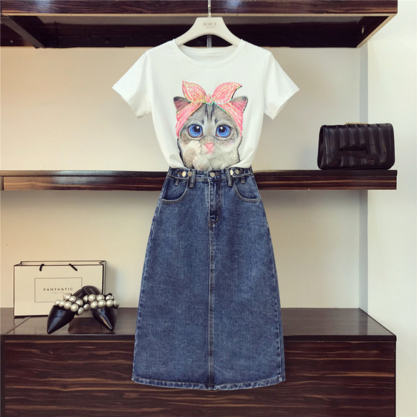 Women Fashion Sequined Cat Cotton Tshirts + Jeans Clothing 2 Piece Set Girls Cartoon Pattern Top Tee Pocket Denim Skirt Suits