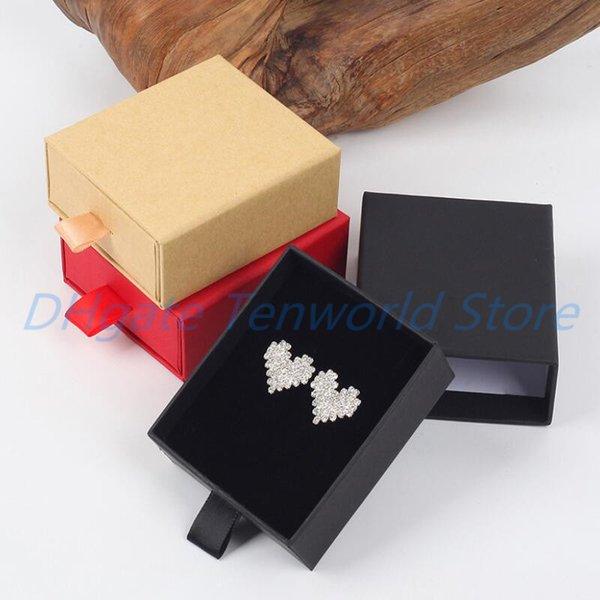 Lujo elegante 8 * 7 * 3cm caja del cajón Con Spong Para exhibición de la joyería pendiente del collar de embalaje caja del cajón con la cinta