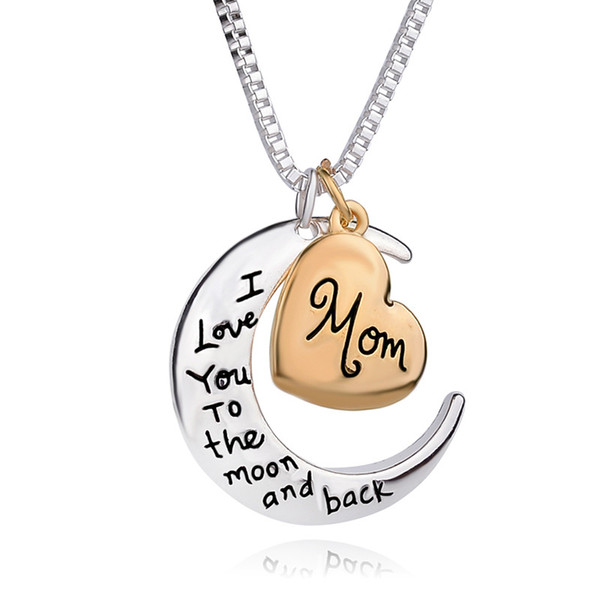 2019 High Quality Heart Jewelry I love you to the Moon and Back Mom Pendant Necklace Mother Day Gift Wholesale Fashion Jewelry YD0055