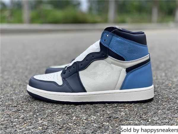 Wholesale 1 OG high Obsidian blue white Men Basketball Shoes trainers sports Sneakers 2018 free shipping top quality with box size 8-13