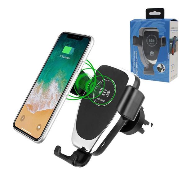 Cargador inalámbrico rápido Qi para el soporte para el teléfono del automóvil de gravedad con operación con una sola mano para teléfonos universales Samsung xx XR XS Max 8 Plus de Samsung