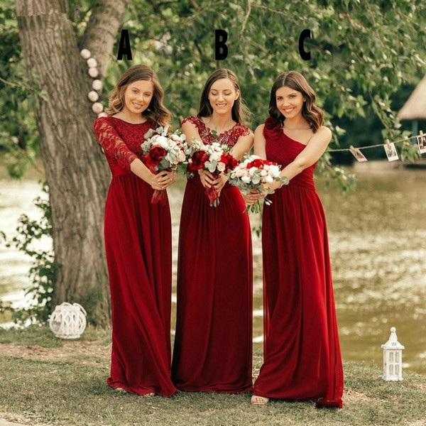 2019 New Chiffon Bridesmaid Dresses Cheap Country For Weddings Red 3 Styles Lace Appliques Floor Length Plus Size Formal Maid of Honor Gowns