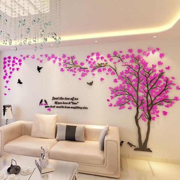 Lovers albero 3 D acrilico Tridimensionale Wall Stickers per vedere l'albero Uccello Mold TV sfondo parete della decorazione Arredamento
