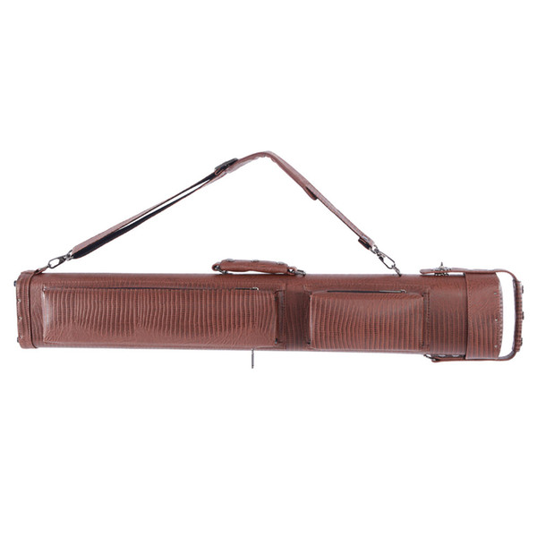 62638-469 1 2 8-Hole Plastic Leather Professional Pool Cue Case 34 inch Brown