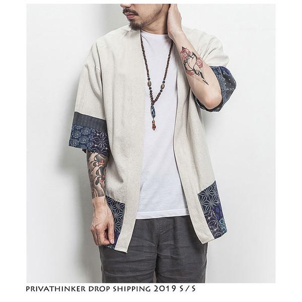 Dropshipping Uomini Color Block Kimono Nero Shirts 2019 Moda uomo Casual Estate Camicie Uomo Designer Vintage Shirt Plus Size SH19062801