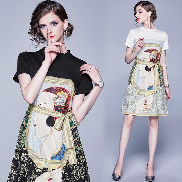 Fashion Girl Dress col rond été personnalisé Robe imprimée Femmes Casual Boutique Robe Robes de soirée