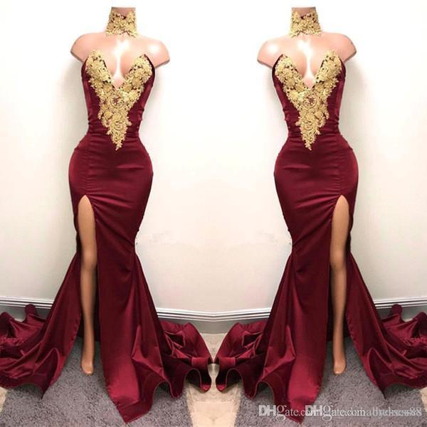 Новые сексуальные бордовые платья выпускного вечера с золотыми кружевными аппликациями спереди Русалка для 2K19 Пром Вечерние платья