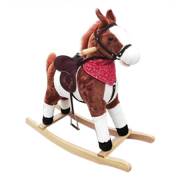 Regali di Natale Kids Ride peluche su pony a dondolo in legno Animali giocattoli con Neigh Sound marrone scuro