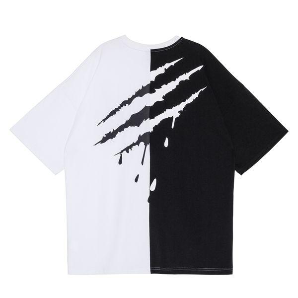 Summer Hip Hop T Shirt Men Women Tees Fashion Splice Print Solid Cotton T-Shirt Streetwear Oversized Swag Shirts Tees Shirts