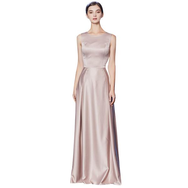 Compre Vestidos De Fiesta 2019 Vestidos De Fiesta Largos De Satén Simples Blush Vestidos De Fiesta De Noche Formales Longitud Del Piso A 6588 Del