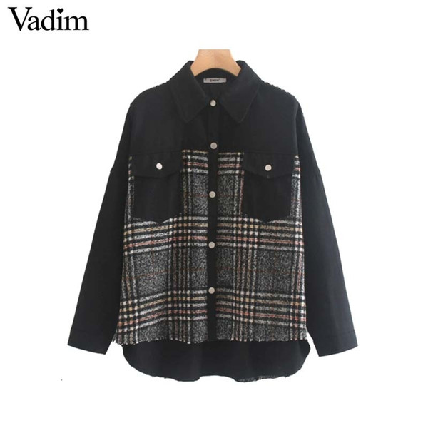 Vadim women stylish plaid patchwork jacket pockets long sleeve coat female casual oversized chic outwear tops mujer CA566 Y191101