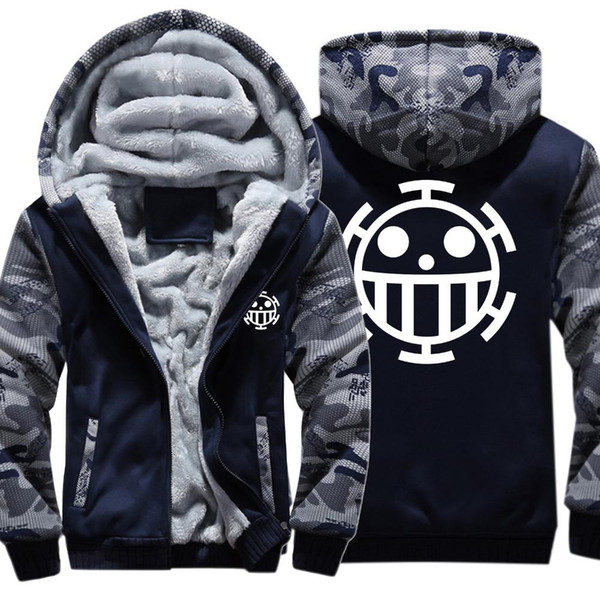 Anime Einteilige Hoodies Trafalgar Law Q Mit Kapuze Mantel Dicke Reißverschluss Männer Casual Strickjacke Jacke Sweatshirt Winter Warme Hoodie