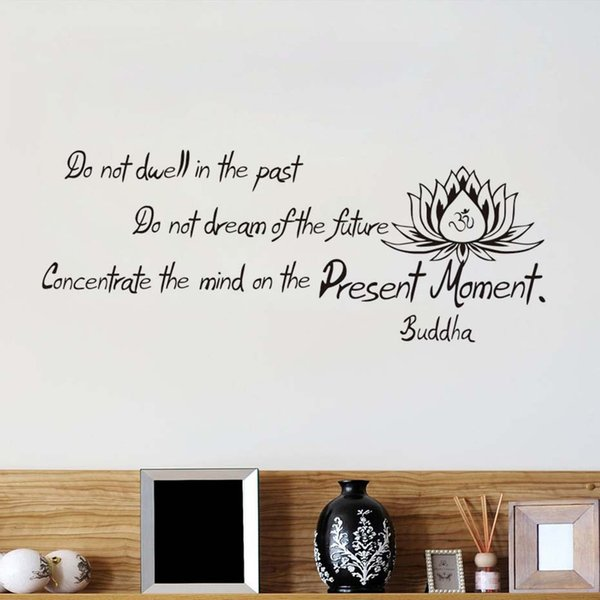 1 Pcs High Quality PVC Buddha Said Do Not Dwell In The Past Wall Decals Living Room Art Vinyl Lotus Sticker Home Decor