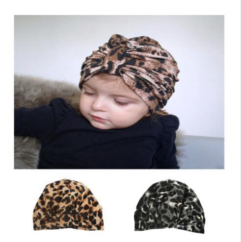 2 Renkler Leopar Baskı Elastik Şapka Bebek Streç Şapka Saç Aksesuarları Yenidoğan Bebek Fotoğraf Sahne FD3027