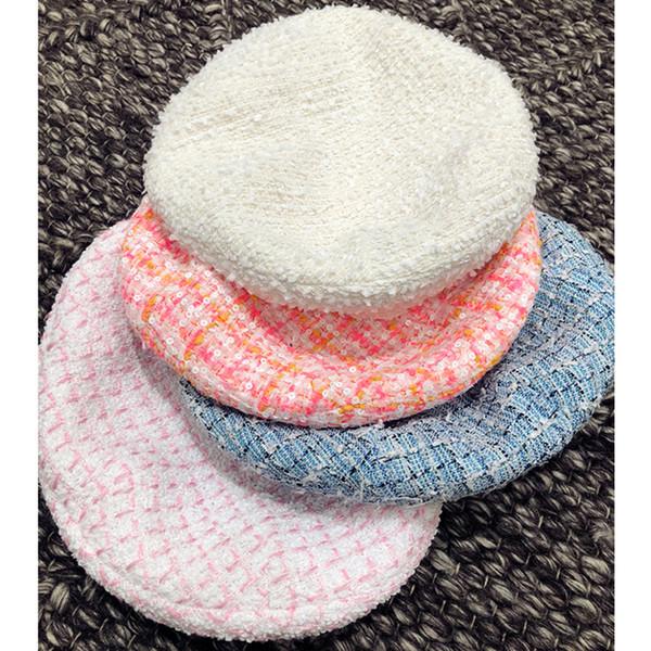 2019 moda primavera y verano nueva boina sólida de 4 colores, sombrero de mujer, accesorios de ropa de mujer, gorro de lana femenina