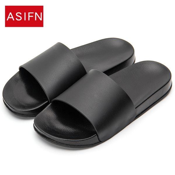 ASIFN Erkekler Terlik Casual Siyah Ve Beyaz Ayakkabı Slaytlar Banyo Yaz Sandalet Yumuşak Sole Flip Flops Olmayan slip