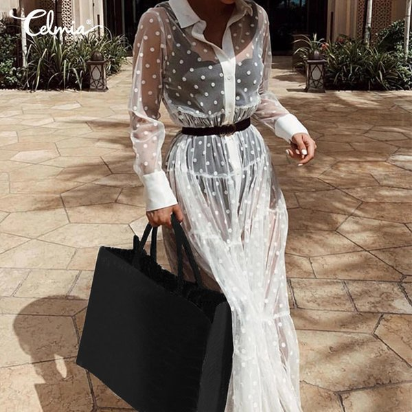 celmia women lace cover up sheer dress 2019 summer transparent see through polka dot button casual beach dress plus size 7