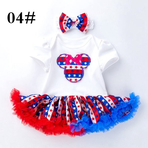 Wholesale Fourth July USA National Days Baby tutu dress romper & headband 2pc set Girls Romper Clothing sets