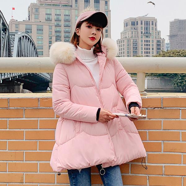 Frauen-Winter-Rosa-Schwarz-Eindickung gesteppte Daunen Baumwolle gefütterte Jacken Mäntel Plus Size Netter mit Kapuze warmer kurzer Parka Mujer Outwear