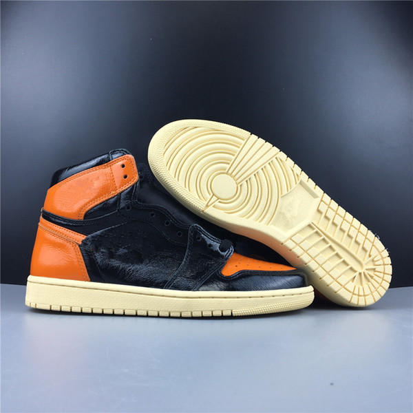 New Leather 1 3.0 High OG Black Orange Men Basketball Shoes Sports Male 1s Sneakers Top Quality Wholesale Box Size 8 13 Men Sneakers Sneakers Men From