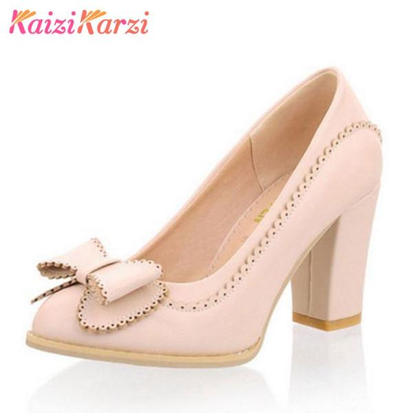 Vente en gros femmes épais chaussures à talons hauts femmes Bowknot couleur unie Pompes Slip On Lady vacances quotidienne chaussures taille 34-43