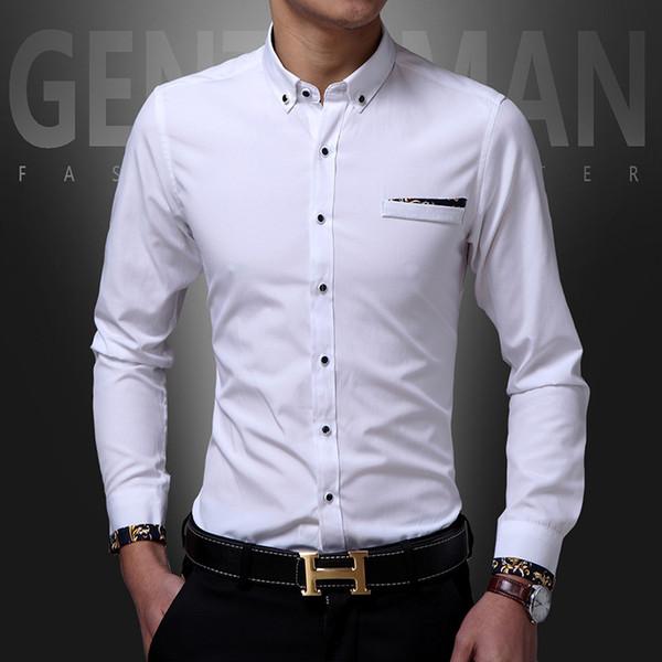 Male model spring new men's shirt Korean shirt men's wild black 7 colors-d501