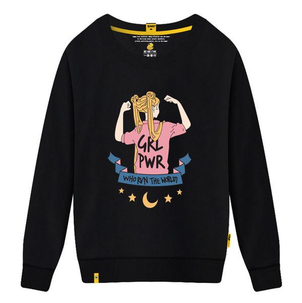 Yeni Marka kadın Kazak Yuvarlak Boyun Yaka ile Güzel Kız Baskı Kadınlar için Nedensel Gevşek Tasarımcı Hoodies Uzun Kollu Tişörtü Pamuk