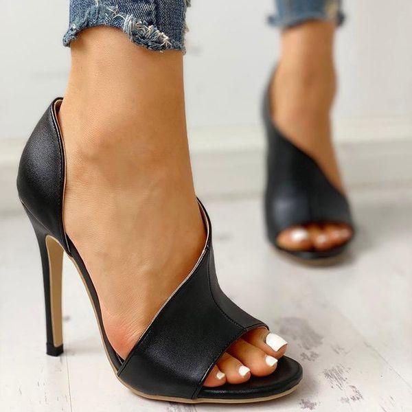 Yeni Cut Out Tasarımcı Sandalet Moda Deri Süper Yüksek Topuklu Sandalet Seksi Kadın Moda Lüks Yaz Burnu açık Ayakkabı