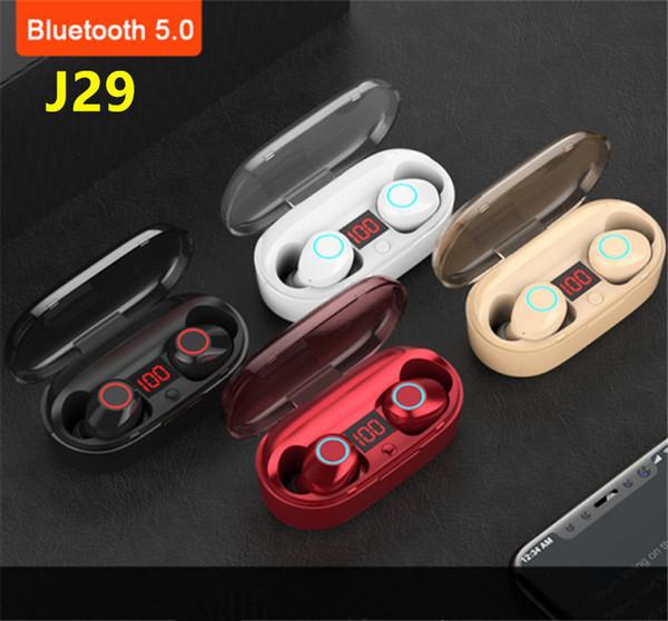 J29 Bluetooth 5.0 TWS LCD Batterieanzeige Mini Wireless Ohrstecker Twins Kopfhörer Kopfhörer mit Batteriefach Freisprecheinrichtung für IOS Android