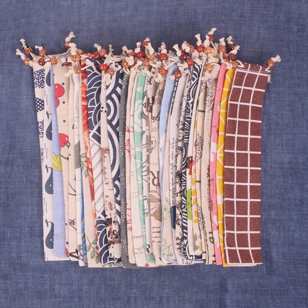 6x26cm многоразовый Drawstring сумка для соломинкой Ножевые Путешествие Кемпинг Палочки Ложка Вилка Нож сумка для хранения Посуда Bundle Карман