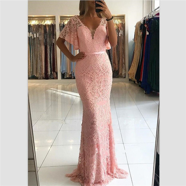 2018 Pink Lace A Line Prom Dresses Deep V Neck Pearls Evening Gowns Custom Floor Length Short Sleeves Party/Cocktail Dresses With Belt