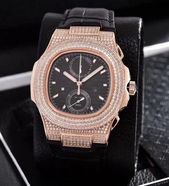 High quality 18K gold studded diamond woman watch sapphire crystal 40mm vault quartz men watch